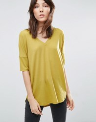 Asos Oversized T Shirt With V Neck And Dip Back In Rib Chartreusse Yellow