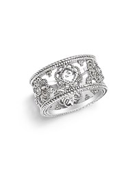 Judith Ripka Sterling Silver Fleur Ring With White Sapphire And Rock Crystal White Silver