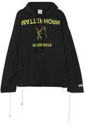 Vetements Printed Cotton Jersey Hooded Top Black