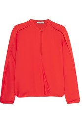 Halston Wrap Effect Crepe De Chine Top Red