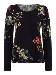 Oui Flower Print Sweater Multi Coloured Multi Coloured