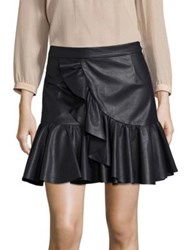 Rebecca Taylor Faux Leather Ruffle Skirt Dark Navy