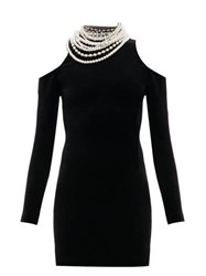 Balmain Pearl Cut Out Shoulder Velvet Mini Dress Black