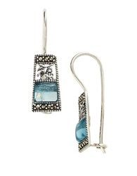 Lord And Taylor Sterling Silver Marcasite Drop Earrings Aqua