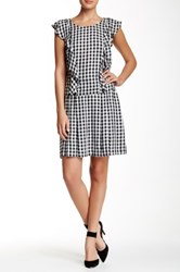 1.State Gingham A Line Mini Skirt Gray