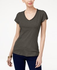 Inc International Concepts Cotton V Neck T Shirt Only At Macy's Grey Knight