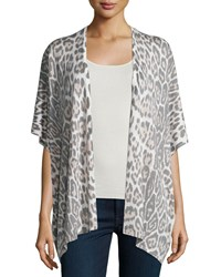 Neiman Marcus Cashmere Collection Leopard Print Short Sleeve Kimono Quartz White