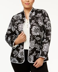 Alfred Dunner Plus Size Quilted Floral Print Jacket Multi