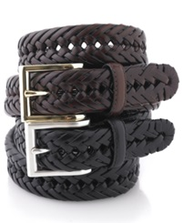 Club Room Big And Tall Braided Leather Belt Tan