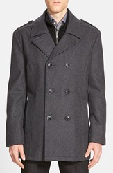 Andrew Marc New York Men's Marc New York By Andrew Marc 'Joshua' Double Breasted Wool Blend Peacoat With Inset Bib Charcoal