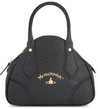 Vivienne Westwood Frilly Snake Embossed Handbag Black