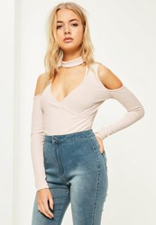 Missguided Cream Ribbed Choker Cold Shoulder Wrap Bodysuit
