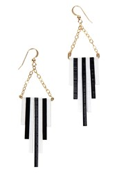 Alice Menter Bella Perspex And Gold Plated Earrings Black And White