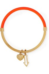 Marc By Marc Jacobs Pointing Hula Hoop Neon Enameled Gold Tone Bangle Orange