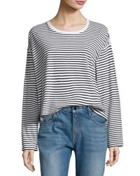 Alexander Wang Long Sleeve Drop Shoulder Striped Cotton Tee White