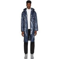 Helmut Lang Navy Framed Long Windbreaker Coat