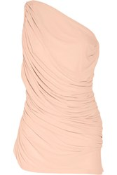 Norma Kamali Diana Mio Ruched One Shoulder Swimsuit Pastel Pink