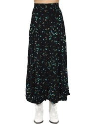 Ganni Printed Viscose Crepe Midi Skirt Black