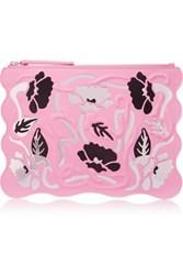 Christopher Kane Floral Appliqued Leather Clutch Baby Pink
