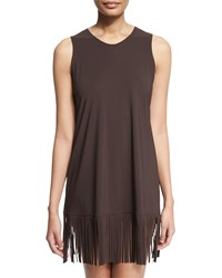 Karla Colletto Fringe Trim Sleeveless Coverup Dress Size X Large Purple Chocolate