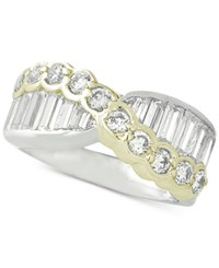 Giani Bernini Two Tone Cubic Zirconia Crossover Statement Ring Created For Macy's Two Tone