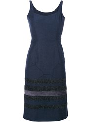 John Galliano Vintage Stripes Panelled Dress Blue