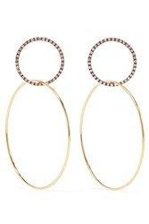 Ileana Makri Double Slim Medium 18 Karat Gold Diamond Hoop Earrings One Size