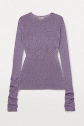 Lanvin Metallic Ribbed Knit Sweater Gray