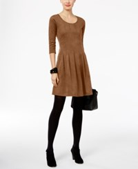 Ny Collection Petite Faux Suede Fit And Flare Dress Almond Camelot