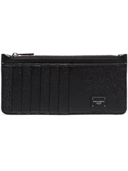 Dolce And Gabbana Black Logo Plaque Grained Leather Zip Cardholder