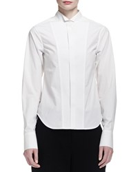 Donna Karan Long Cuffed Poplin Tuxedo Blouse Women's White