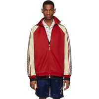 Gucci Red And Off White Oversized Jersey Jacket