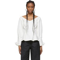 Edit White Tuck Sleeve Wide Neck Blouse