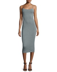 T By Alexander Wang Strappy Stretch Midi Dress Heather Gray Heather Grey