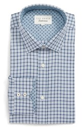 Ted Baker Big And Tall London Ambrer Trim Fit Check Dress Shirt Grey