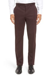 Boss Men's 'Giro' Flat Front Solid Stretch Cotton Trousers Medium Red