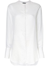 Bassike Collarless Shirt Women Silk Acetate Viscose 12 White