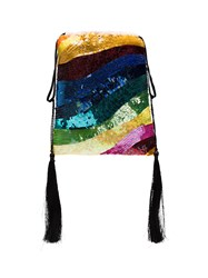 Attico Sequin Tassel Rainbow Bracelet Bag Multicolour