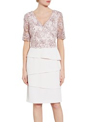 Gina Bacconi Crepe Dress With Cord Embroidery Bodice Nude