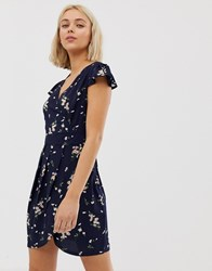 Qed London Wrap Front Tulip Dress In Floral Print Multi
