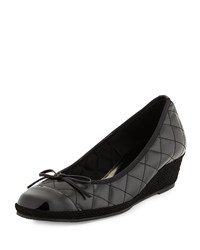 Margie Quilted Leather Wedge Pump Black Sesto Meucci