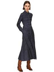 Gabriela Hearst Descartes Polka Dot Silk Twill Dress Navy