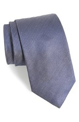 Eton Men's Herringbone Silk Tie Silver