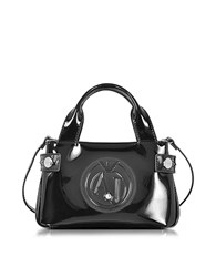 Armani Jeans Signature Mini Patent Leather Tote Bag Black