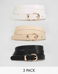 Asos 3 Pack Pastel And Glitter Waist And Hip Belts Multi