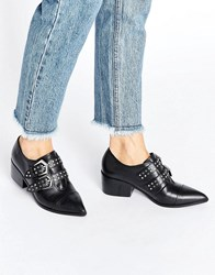Office Fly By Buckle Strap Leather Point Mid Heeled Shoes Black Leather