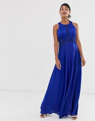 Little Mistress High Neck Sleeveless Skater Maxi Dress Blue