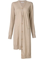 Tomas Maier Asymmetric Long Cardigan Nude And Neutrals