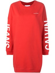 Calvin Klein Jeans Logo Print Sweater Dress Red