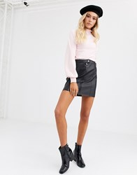Jdy Faux Leather Mini Skirt With Zip Deatil Black
